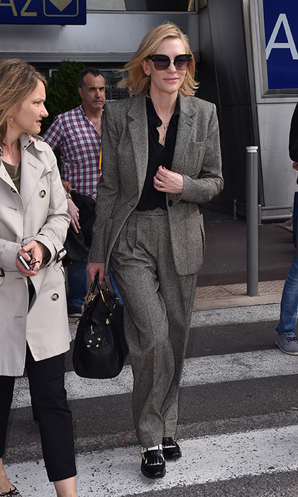 <p>Cate Blanchett made an effortlessly chic appearance at the Nice Airport while arriving for Cannes. She rocked an androgynous brown pantsuit with a pair of black-and-white oxfords, and dark sunnies to shield her eyes from the sun.</p>