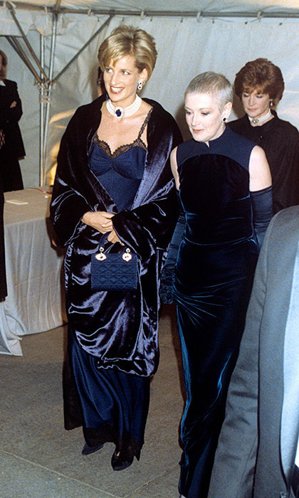 Princess Diana stunned at the 1996 Met Gala in a navy ensemble by Versace. 