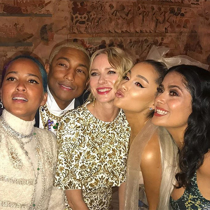 Say cheese! Salma Hayek, far right, posted this all-star photo co-starring (right to left) Ariana Grande, Naomi Watts, Pharrell and Helen Lasichanh.