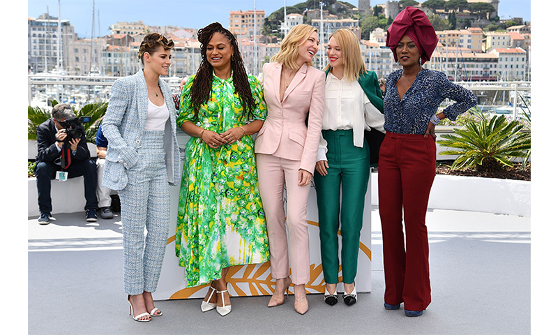 <p>The female members of the 2018 Cannes jury were dressed to impress on the first day of the festival. From left, American actress Kristen Stewart, American filmmaker Ava DuVernay, Australian actress Cate Blanchett, French actress Lea Seydoux and Burundian singer Khadja Nin.</p>