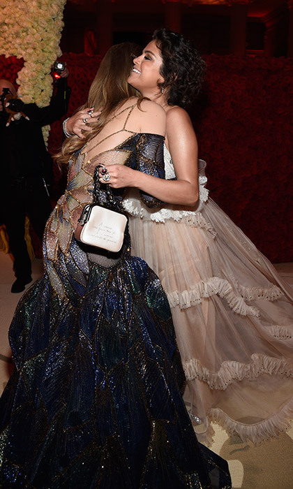 Selena Gomez and Gigi Hadid looked thrilled to see one another, melting into this taffeta-laden hug during the Met Gala cocktail party. 