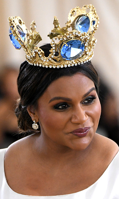 <em>A Wrinkle in Time</em> star Mindy Kaling was a true queen in a gorgeous oversized crown by Greek jewelry designer Pericles Kondylatos.