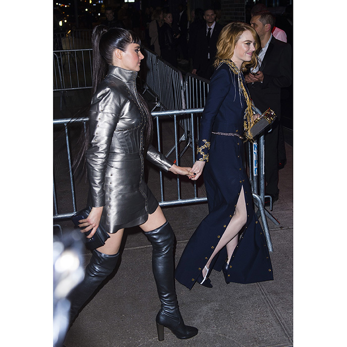 Shailene Woodley and Emma Stone arrived hand-in-hand to the Met Gala Balmain after party at the Boom Boom Room at the Standard Hotel. 