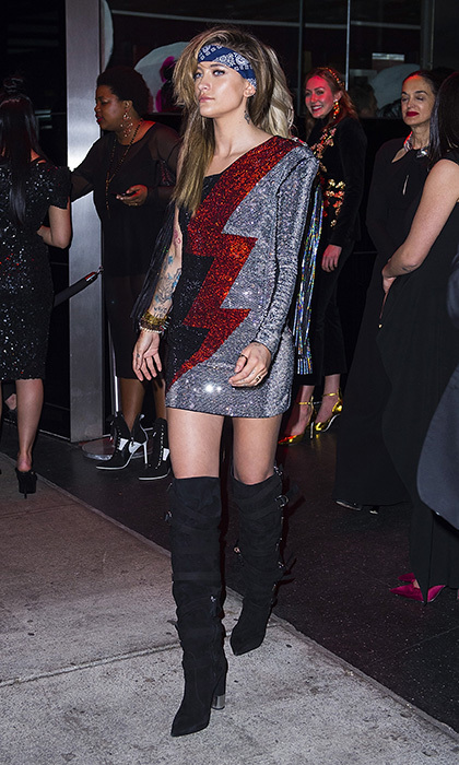 Paris Jackson channelled 1980s rocker chic at the Balmain after party at Boom Boom Room at the Standard Hotel. 