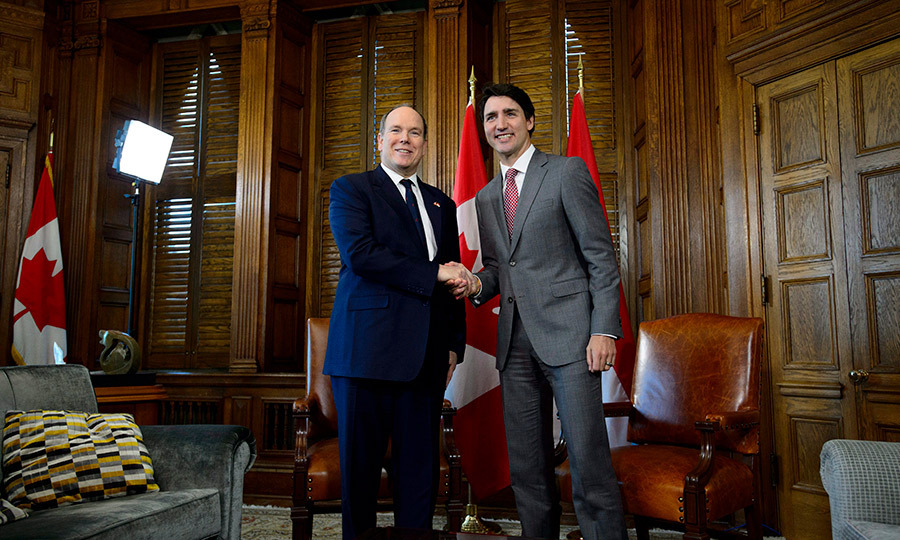 <p>Prince Albert of Monaco and Justin Trudeau met in Ottawa's Parliament Hill on May 7. The two showed off their megawatt smiles for the camera after discussing important topics like climate change, ocean preservation and the conservation of marine life.</p>
