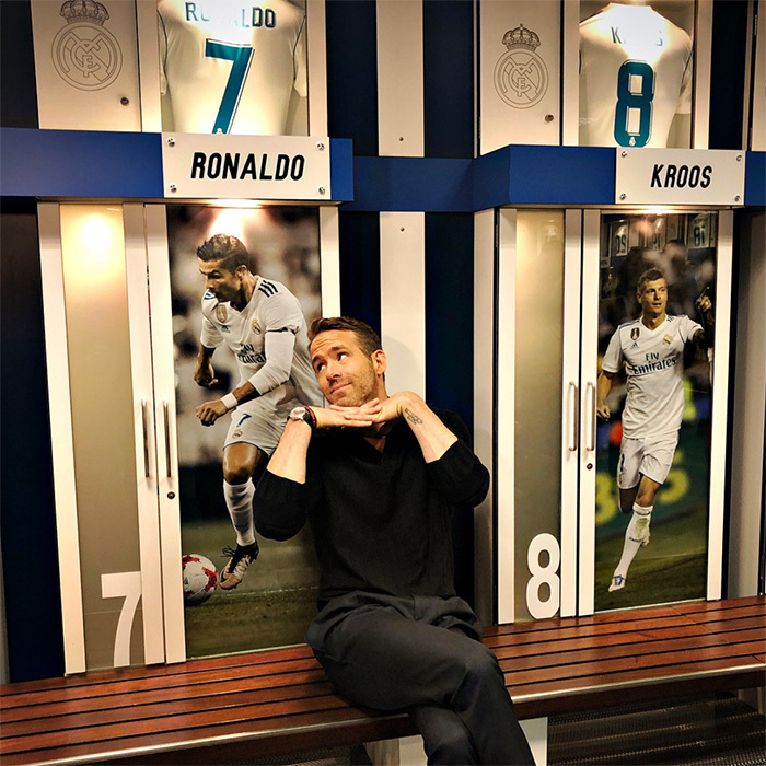 <p>Funny enough, Ryan Reynolds is also in Spain! But instead of going horseback riding, the <em>Deadpool</em> star paid a visit to Real Madrid's official field. Clearly, he's a Cristiano Ronaldo fan!</p>