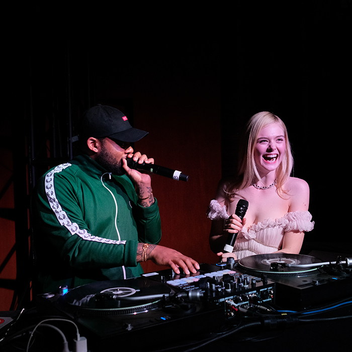 <p>Elle Fanning got a moment in the DJ booth!</p>