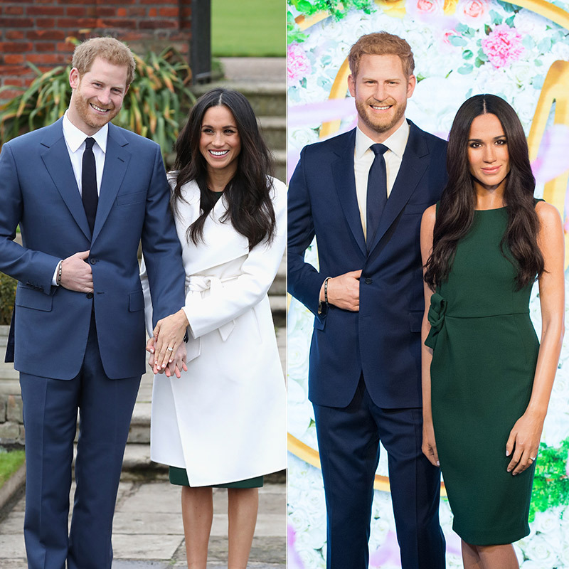 While Prince Harry has already been immortalized in wax, Megan Markle got the Madame Tussauds treatment for the first time in London in 2018, just weeks before she married her prince on May 19. The former actress can be seen in the green dress she wore during the couple's televised engagement interview, which comes from label Parosh. For their engagement photocall, during which Prince Harry posed with his hand peeking out of his blue suit jacket (they got that detail just right in the wax figure!), Meghan topped the pretty dress with a white wrap coat by Canadian label Line. The brunette locks on her likeness are perfectly wavy and centre-parted. 