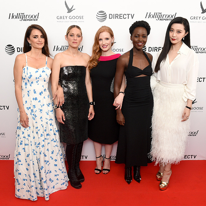 <p>Fashionably on time! The epic cast of spy movie <em>355</em> all stunned at The Hollywood Reporter's Cannes cocktail party on May 10</p>