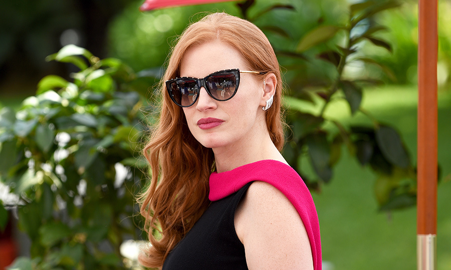<p>Jessica Chastain rocked a sleek pair of oversized sunnies while attending a cocktail party with Grey Goose.</p>