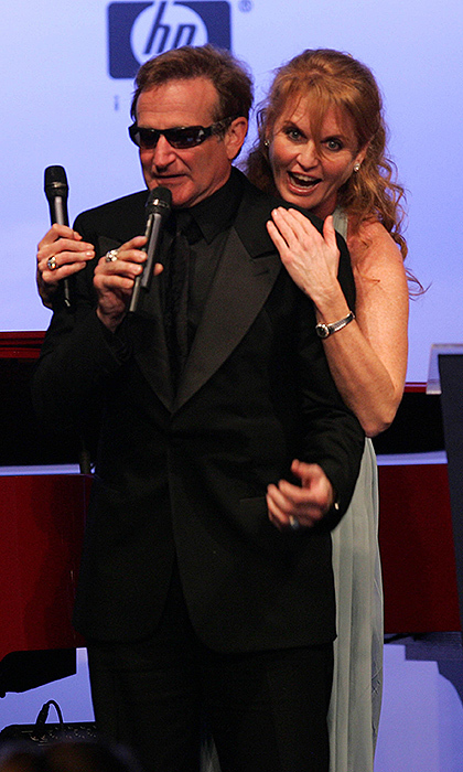 What a pair! At amfAR's Cinema Against AIDS Benefit in 2006, Sarah, Duchess of York, shared a goofy moment with late comedian Robin Williams.