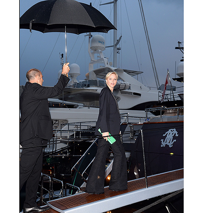 Cannes is the place to be, rain or shine! Princess Charlene of Monaco stepped on board for the Roberto Cavalli Yacht Party during the 66th Annual Cannes Film Festival in 2013. 