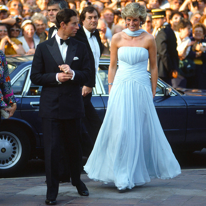 A classic throwback as Princess Diana makes her Cannes debut alongside Prince Charles in 1987, stepping out for A Gala Night In Honour Of Actor Sir Alec Guinness. The Princess wore a silk chiffon gown and stole by one of her favourite designers, Catherine Walker. 