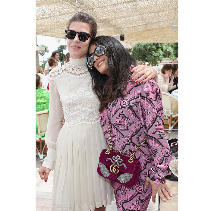 Gucci girls Charlotte Casiraghi and Salma Hayek greeted each other with a hug at the Kering Women In Motion Lunch With Madame Figaro, held during Cannes in 2017.