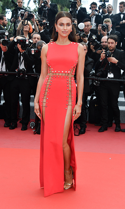 <p>Supermodel Irina Shayk – and girlfriend to Bradley Cooper – stunned in this daring red Versace gown for the <em>Sorry Angel</em> premiere.</p>