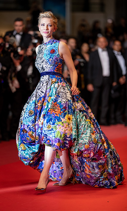 <p>Cate Blanchett was a floral goddess in a custom Mary Katrantzou dress, Aquazarra heels and glittery Chopard jewelry. She was attending the premiere for <em>Cold War</em>.</p>