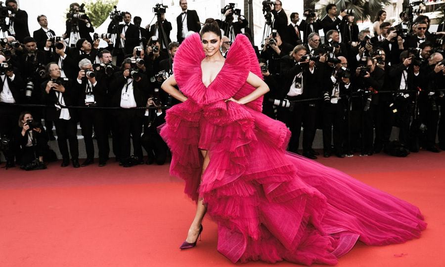 <p>Deepika Padukone made a statement on the <em>Ash is Purest White</em> Cannes red carpet in a magenta gown by Ashi Studio..</p>