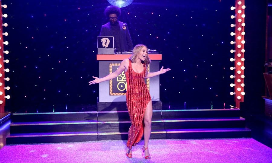 <p>Shake it fast! Jennifer Lopez got on the floor and got competitive during a round of Fast Dance-Off on the <em>Tonight Show</em>. <em>The World of Dance</em> star showed off her moves as she faced off with host Jimmy Fallon. </p>