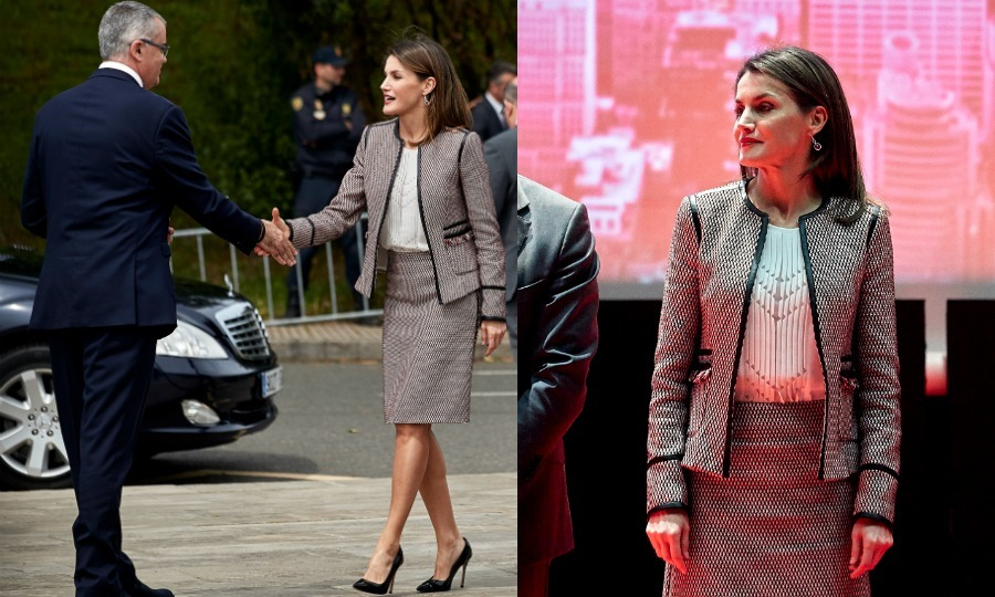 <p>Royal rewear! Queen Letizia recycled her beloved Hugo Boss tweed suit, which she has worn on several ocassions in the past, for the Commemorative Act of the World Red Cross Day on May 8 in Santiago de Compostela, Spain. The ensemble included the BOSS Keili Collarless tweed jacket, which she has thrown on by itself for other looks, and the matching Meili skirt, a combo that can run for upwards of $742.</p>