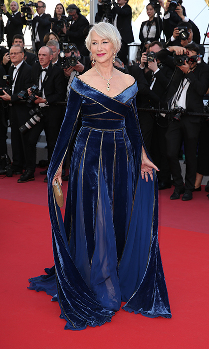 <p>On May 12, Helen Mirren showed up for the premiere of <em>Girls of the Sun</em> in a gorgeous deep blue velvet gown.</p>
