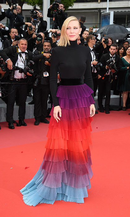 <p>Cate Blanchett wore the rainbow on the red carpet!</p>