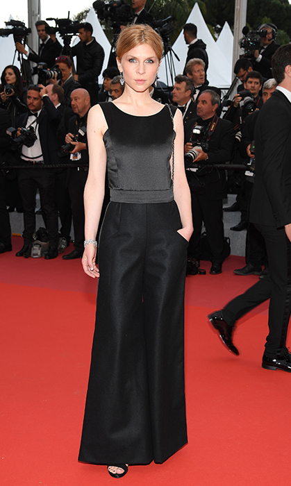 <p>Clemence Poesy kept things simple and chic in a black tuxedo jumpsuit.</p>