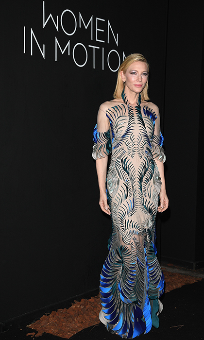 Jury president Cate Blanchett appeared to have stopped by the Women in Motion dinner straight from the future in this stunning, sheer Iris van Herpen number.