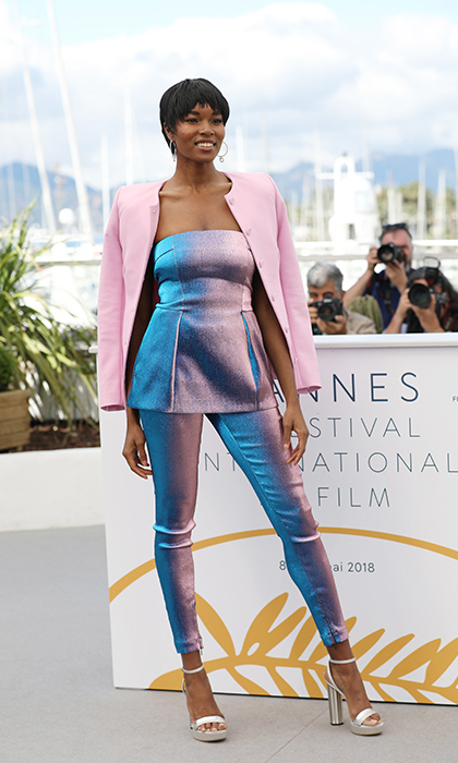 Damaris Lewis shimmered and shined in a pink and blue ensemble at the photocall for Spike Lee's <em>Blackkklansman.