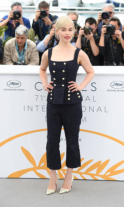 Mother of style! Emilia Clarke rocked a multi-buttoned vest with matching capri pants and patterned pumps that perfectly matched her blond tresses at the <em>Solo: A Star Wars Story</em> photocall. 