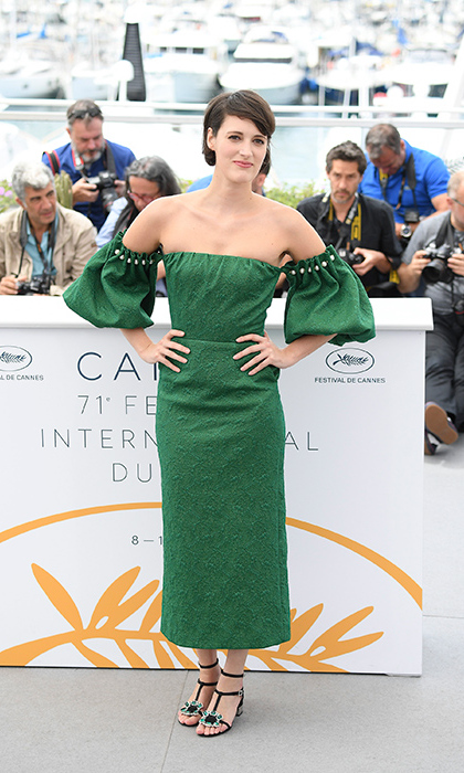 Phoebe Waller-Bridge had us green with envy over this too-cool look featuring off-th-shoulder, pearl-studded pouffy sleeves and black bejewelled sandals. 