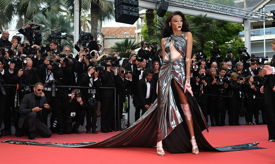 <p>Winnie Harlow made jaws drop with her custom gown by Lebanese designer Jean Louis Sabaji. The stunning train looked like liquid platinum.</p>
