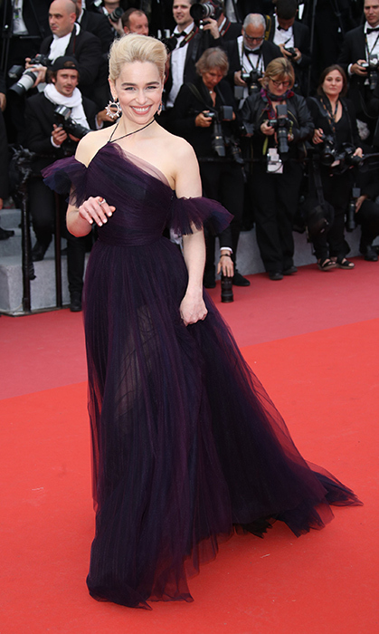 <p>Emilia Clarke looked like she was floating on the carpet in this ethereal royal purple tulle Dior Haute Couture gown. The actress accompanied her <em>Solo: A Star Wars Story</em> co-stars, and was clearly having a ball – she couldn't stop giggling!</p>