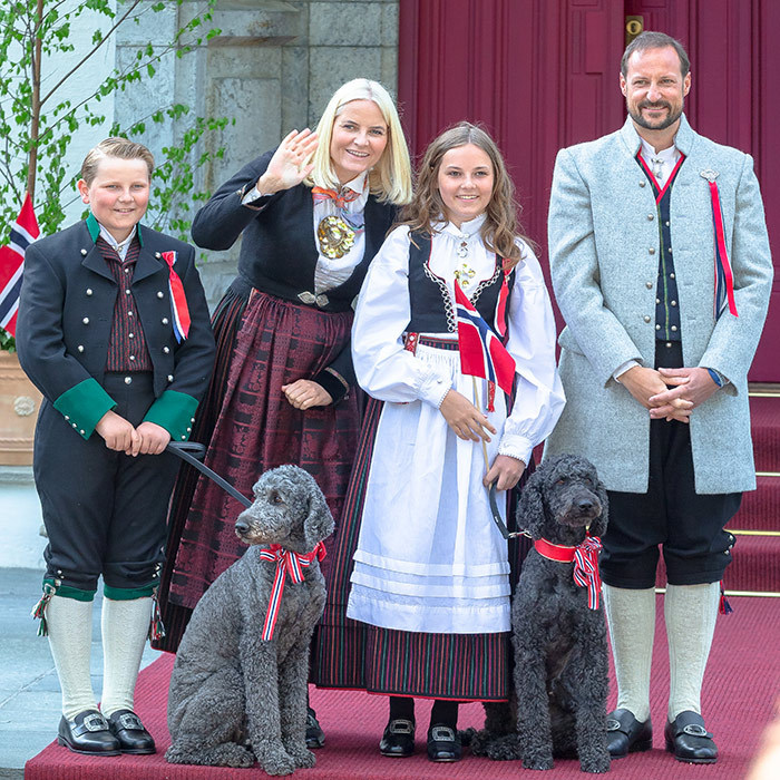 <p>Norway's royal family looked spiffy in their traditional garb for Norway's National Day on May 17. They were also joined by their adorable pups!</p>