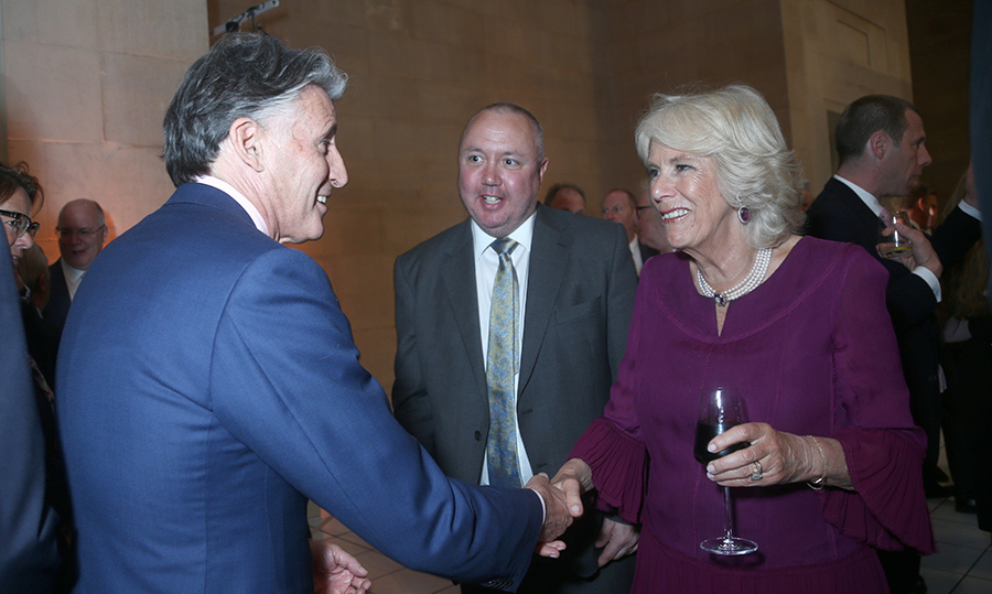 <p>Camilla, Duchess of Cornwall, shook hands with Lord Coe during a press association celebration.</p>