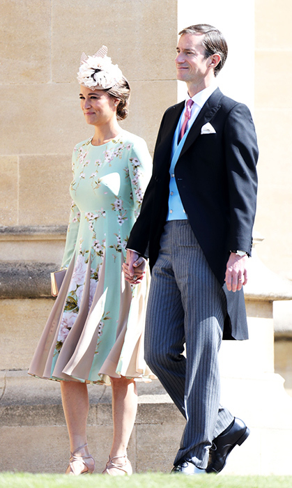<p>Pippa Middleton and her husband, James Matthews, arrived in style for Prince Harry and Meghan's nuptials. Pippa stunned in a mint green dress by The Fold, while James looked dapper in a mourning coat.</p>
