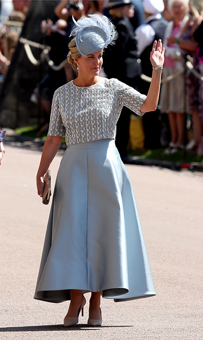 <p>Sophie Wessex looked so elegant in a pale blue gown and matching fascinator. She waved to adoring fans, waiting to catch a glimpse of the royal arrivals.</p>