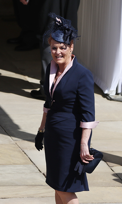 <p>Sarah Ferguson looked chic in a navy blue collard dress.</p>