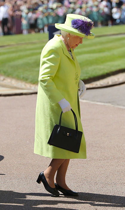 "<p>As per royal tradition, <a href=""https://ca.hellomagazine.com/tags/0/queen-elizabeth-ii""><strong>the Queen</strong></a> was the last to arrive before the ceremony began. Of course, Her Majesty looked exquisite, stunning in a lime green suit and floral to welcome Meghan into the royal fold.</p>