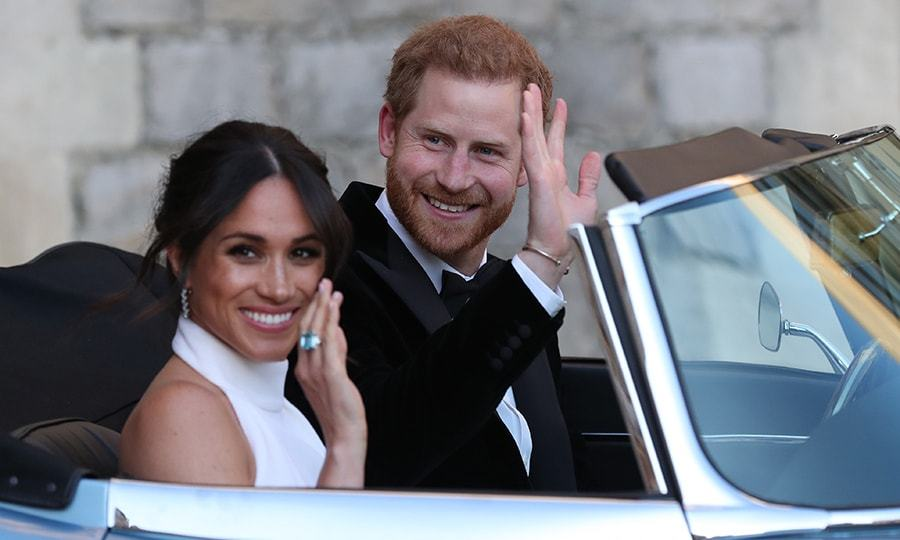 <p>The glow of love! The newlyweds were grinning from ear-to-ear as they drove off to Frogmore House to celebrate with 200 of their closest friends. And what's that Meghan is wearing on her finger? It's Princess Diana's aquamarine ring.</p>