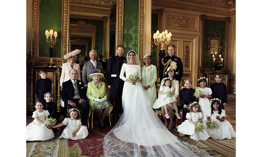 The Duke and Duchess of Sussex with their family and bridal party