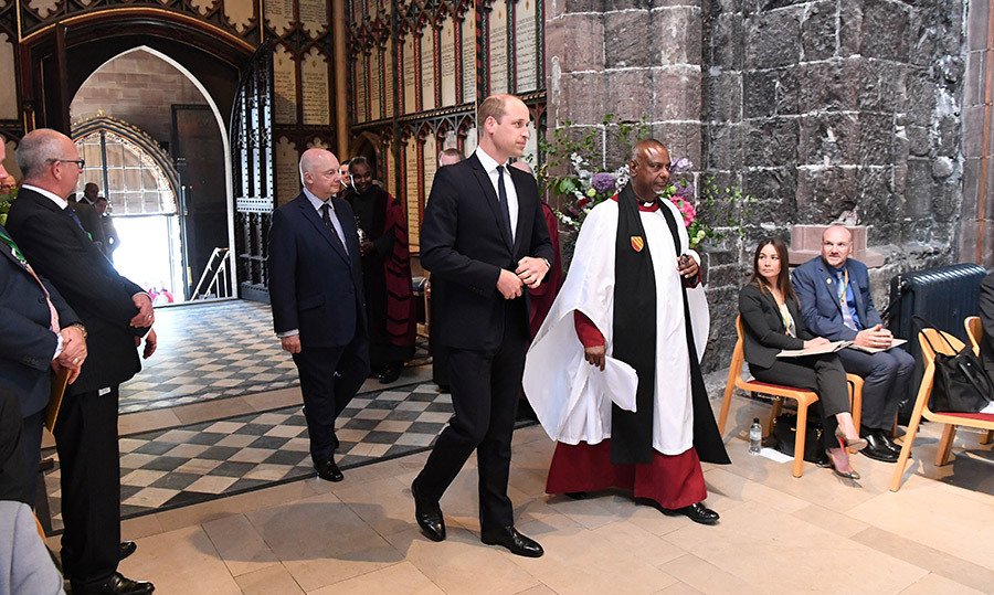 <p>Prince William arrived alongside Dean of Manchester The Very Revd Rogers Govender at the Manchester Arena National Service of Commemoration at Manchester Cathedral on May 22. The service was in memory of the 22 people were killed and hundreds injured when a man detonated a bomb at the end of an Ariana Grande last year.</p>