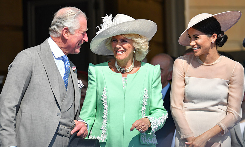 <p>Prince Charles, Camilla and the Duchess of Sussex shared a laugh while celebrating the prince's 70th birthday on May 22. This is the first time Meghan officially stepped out with her new royal title!</p>