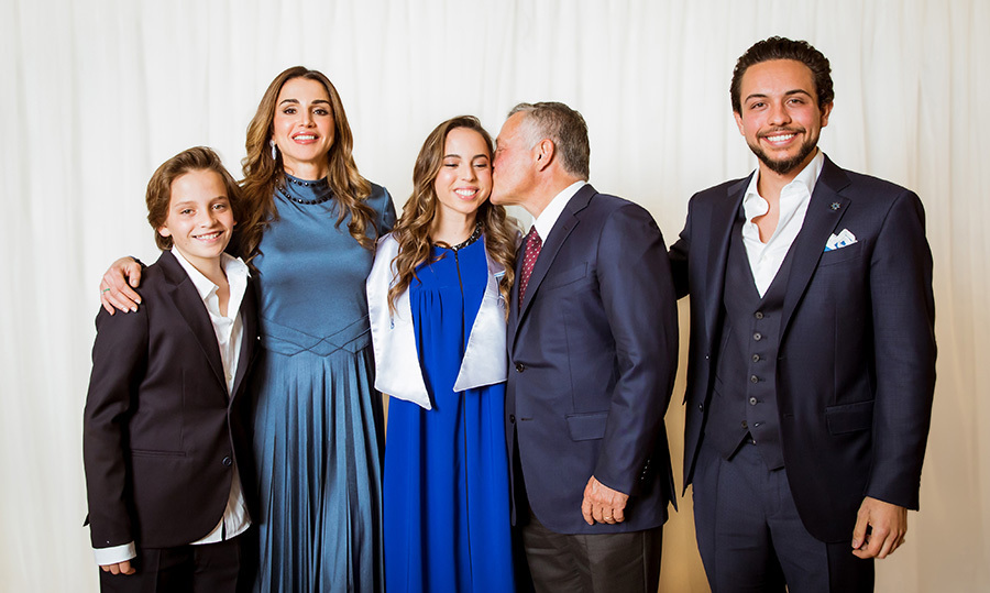 <p>Now that's one proud family! King Abdullah II, Queen Rania Crown Prince Al Hussein and Prince Hashem attended the graduation ceremony of Princess Salma from the International Academy in Jordan on May 22.</p>