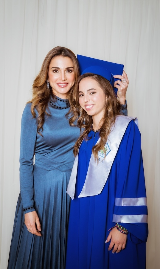 <p>Happy graduation, Princess Salma! Proud mom, Queen Rania, posed alongside her daughter, who was graduating from International Academy in Jordan.</p>