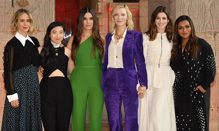 The star-studded cast of <em>Ocean's 8</em> looked like a million bucks at the worldwide photocall for the highly anticipated heist movie. Sarah Paulson, Awkwafina, Sandra Bullock, Cate Blanchett, Anne Hathaway and Mindy Kaling posed in style at the Metropolitan Museum of Art, where the film takes place as the franchise turns to a new group of thieves - this time all women - attempting to rob the Met Gala. 
