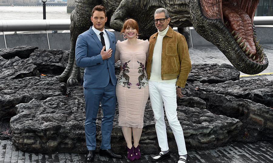 Chris Pratt, Bryce Dallas Howard and Jeff Goldblum made an appearance at the <em>Jurassic World: Fallen Kingdom</em> in London on May 24.