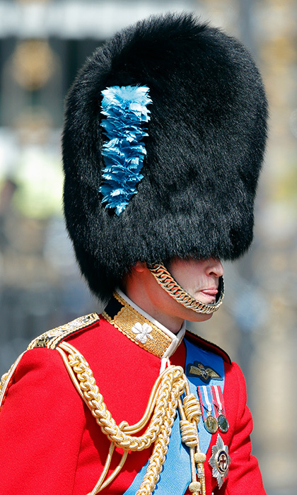 You can't see Prince William's eyes, but you can see his tongue! The royal was in his guardsman uniform and bearskin hat during a rehearsal for Trooping the Colour in 2017.