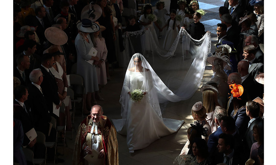 One of the most striking images from the day was this ethereal shot of the bride walking alone down the aisle, a photo snapped by Danny Lawson. 