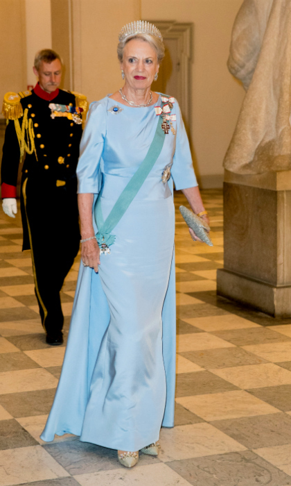Queen Margrethe's sister Princess Benedikte made a splash in a baby blue gown. She also wore an intricate tiara.