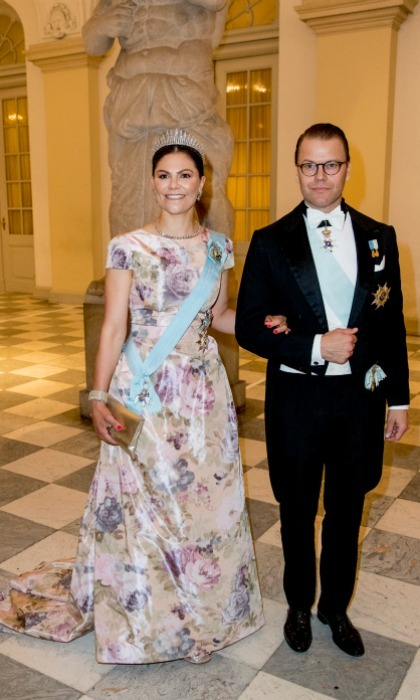 Crown Princess Victoria and Prince Daniel made the trip from Sweden to celebrate Frederik. A pretty pair, Victoria looked especially delightful in a floral gown and shiny crown.